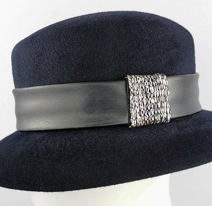 Fascia per Cappello in Eco Pelle Nera e Paillettes