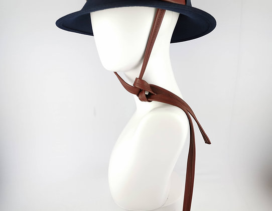 Hat Straps in Brown Eco Leather