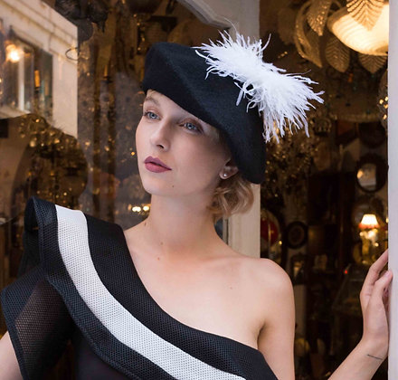 Black Beret with White Ostrich Feathers