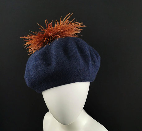 Blue Beret with Cinnamon Brown Ostrich Feathers