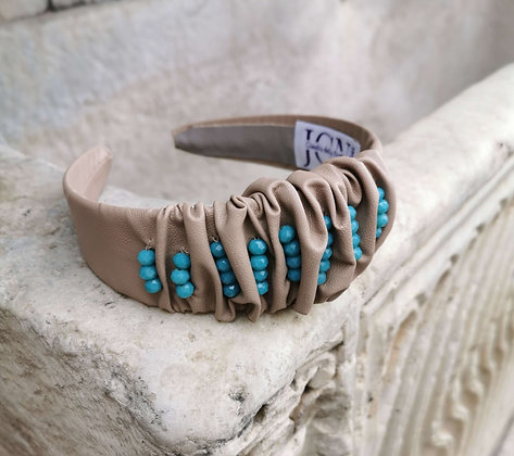 Headband in Beige Faux Leather and Sky Blue Beads