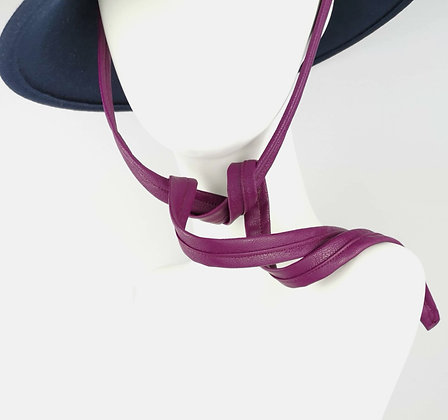 Hat Straps in Magenta Eco Leather