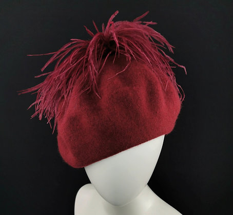 Wine Red Beret with Ostrich Feathers