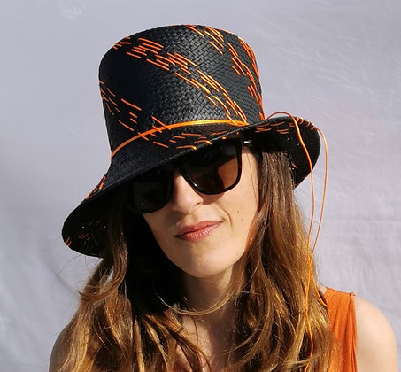 Charcoal Black Chinese Paper Straw Hat with Orange Embroidery