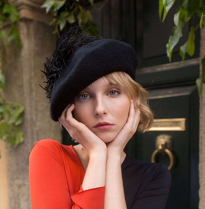 Black Beret with Black Ostrich Feathers