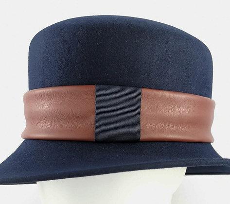 Fascia per Cappello in Eco Pelle Marrone e Blu