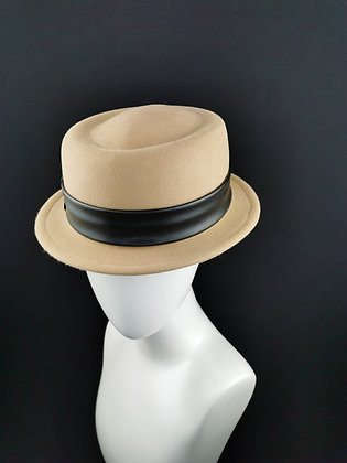 Cappello Porkpie in Feltro di Lapin Cammello con 2 Fasce Intercambiabili