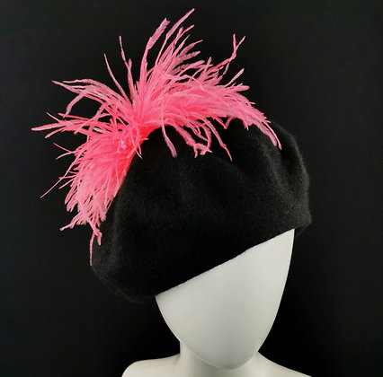 Black Beret with Hot Pink Ostrich Feathers