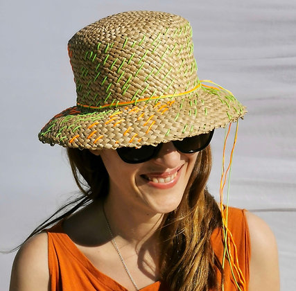 Natural Straw Hat with Neon Yellow and Orange Embroidery