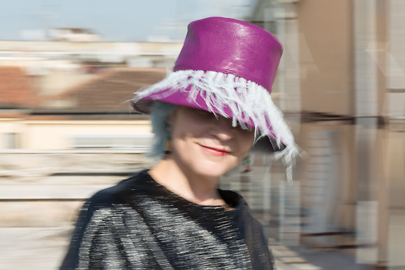 Bucket Hat in Magenta Vegan Leather and Pale Blue Ostrich Feathers Fringe