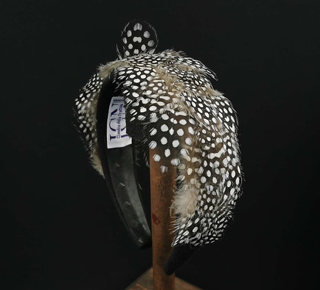 Headband with Natural Guinea Fowl Feathers