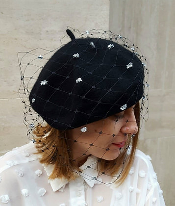 Black Beret with Veiling and Silver Glitter Dots