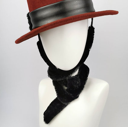 Hat Straps in Black Faux Fur and Eco Leather
