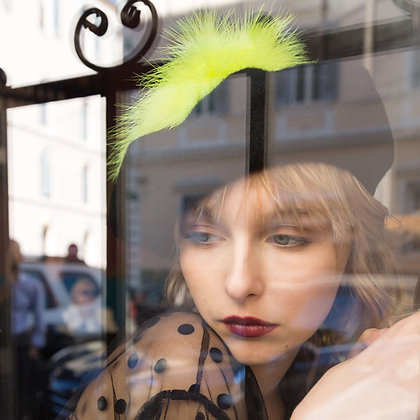 Black Beret with Neon Chartreuse Marabou Feathers