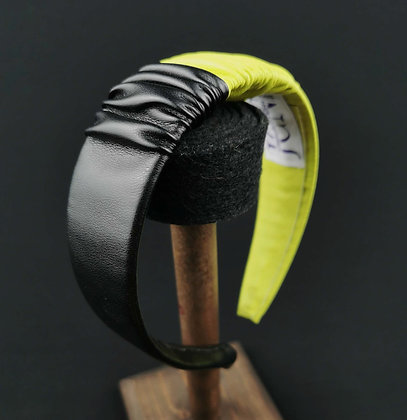 Large Headband in Eco Leather - Black and Chartreuse Yellow