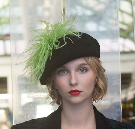 Black Beret with Lime Green Ostrich Feathers