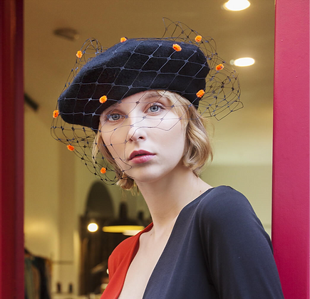 Black Beret with Veiling and Neon Orange Chenille Dots