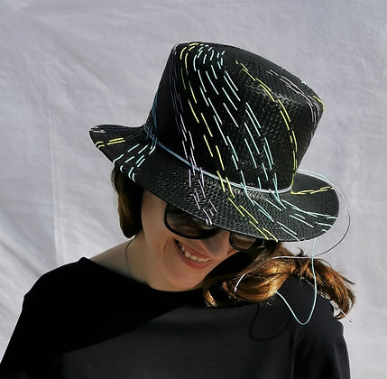 Charcoal Black Chinese Paper Straw Hat with Multi Color Embroidery