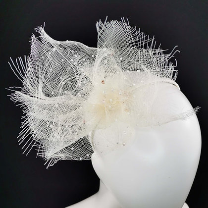Ivory Bridal Headpiece in Crinoline and Beads