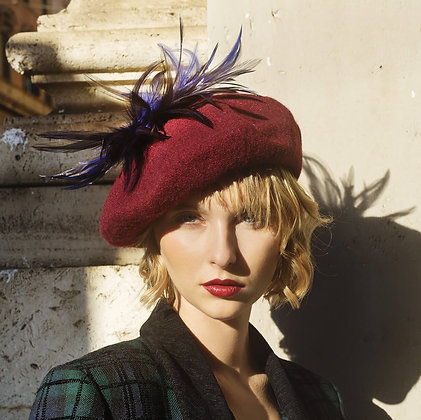Wine Red Beret with Blue Pheasant Feathers