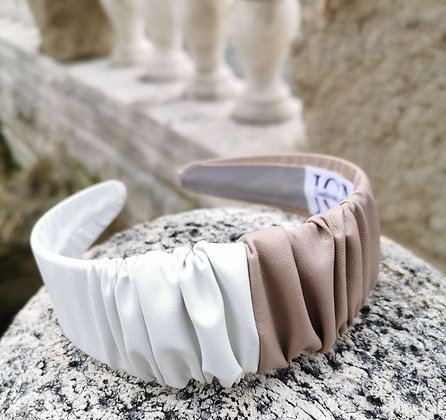 Headband in Beige and White Faux Leather