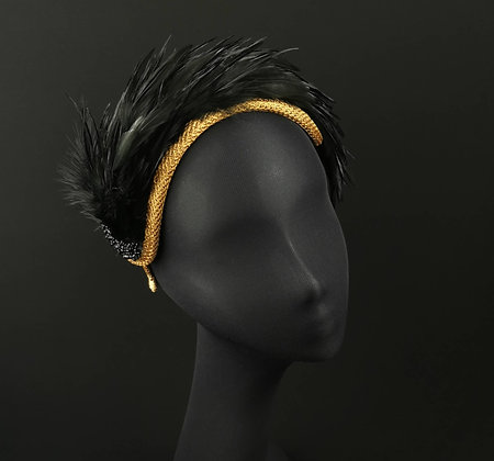 Crown Fascinator in Gold and Black