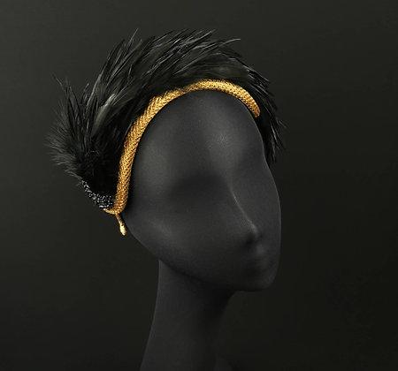 Corona Glitter Nero e Oro con Piume