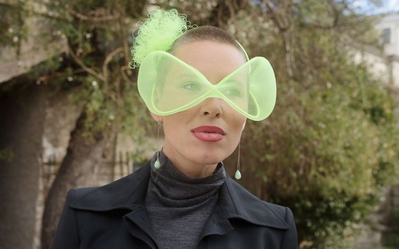 Green Chartreuse Headpiece - Futuristic Glasses
