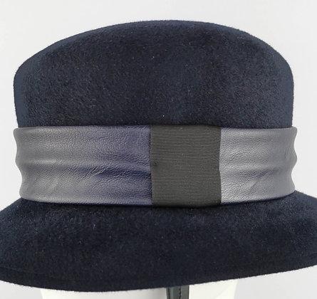 Fascia per Cappello in Eco Pelle Blu Notte e Nero