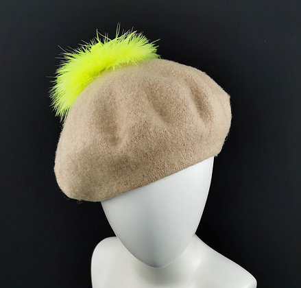 Beige Beret with Neon Yellow Feathers