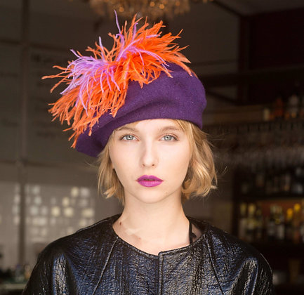 Purple Beret with Orange and Pink Ostrich Feathers