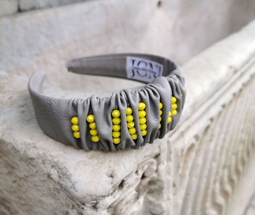 Headband in Grey Faux Leather and Yellow Beads - Pantone 2021