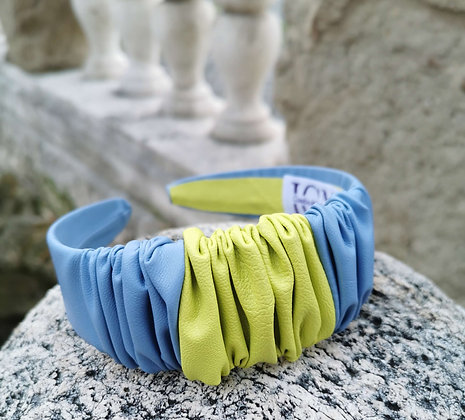 Headband in Sky Blue and Neon Yellow Faux Leather
