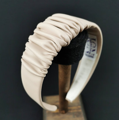 Large Headband in Eco Leather - Sand Beige