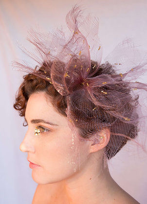 Old Rose and Gold Fascinator in Crinoline - Summer Vibes Collection