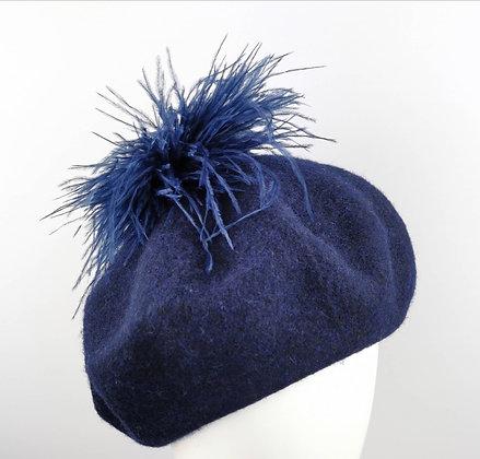 Basco Blu con Piume di Struzzo Blu