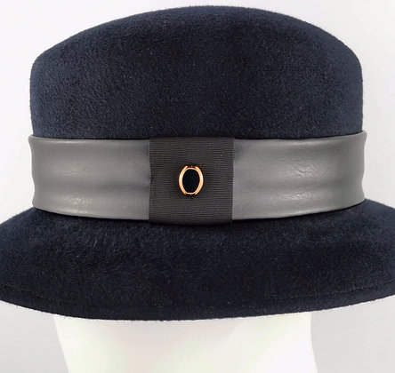 Hatband in Black Eco Leather and Bronze Bead