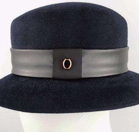 Fascia per Cappello in Eco Pelle Nera e Perlina Bronzo