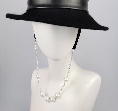 Hat Straps in Black Eco Leather and Faux Pearls