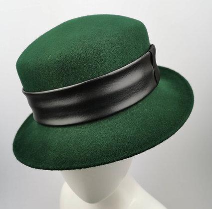 Cappello Verde in Feltro di Lana Merino con 2 Fasce Intercambiabili