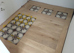 Tiled inlay to form stepping stones