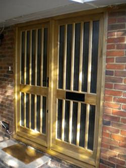 Solid oak front door & side light