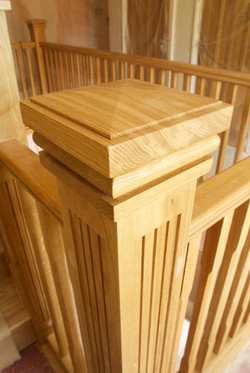 Fitted solid oak newel post and cap