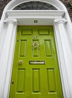 Modern hardwood front door
