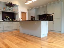 Solid oak floor with modern Kitchen