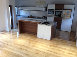 Solid oak flooring in modern kitchen