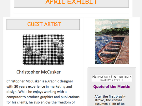 Article in the Norwood Artists Gallery & Studio Newsletter