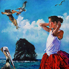 """Dance of the Pelicans"", oil painting, 16"" square. Costa Rica, Monkey head Island, dancer, woman in red, tutu, pelicans, flying birds, island, ocean. Figurative art."