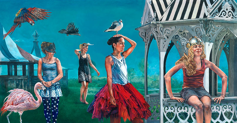 "Linda H. Post, ""The Procession of Hope and Feathers"", oil painting on linen. 131"" x 68"", 2020."