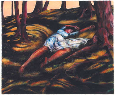 Earth, a pastel of a woman in a woodland scene